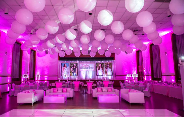 Club Themed Bat Mitzvah Club Themed Bat Mitzvah with White Balloons on Ceiling, Custom Lounge, Hot Pink Up-Lighting & Logo Backdrop at Temple Israel Center