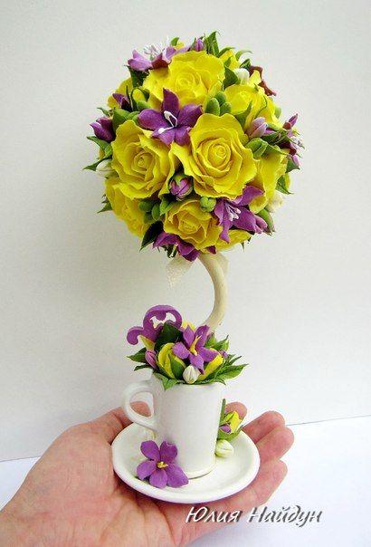 Дерево декоративное с цветами