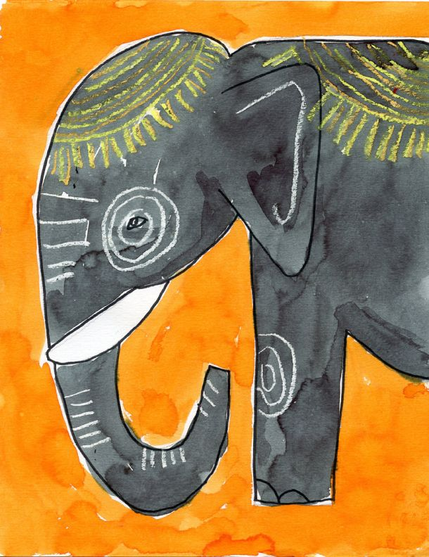 Elephant drawing and painting