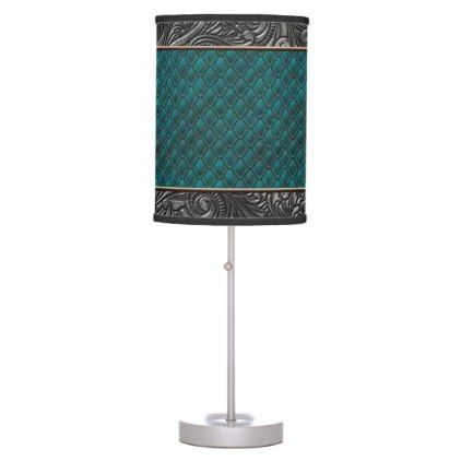 Gothic Killer Teal Desk Lamp - metallic style stylish great personalize