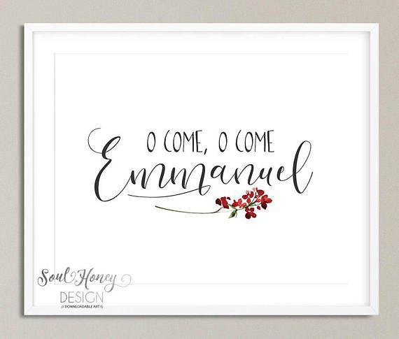 O Come O Come Emmanuel | Christian Christmas Print | Printable Quote | Instant Artwork | Rejoice Rejoice | Christian Christmas wall art | Christmas song art |