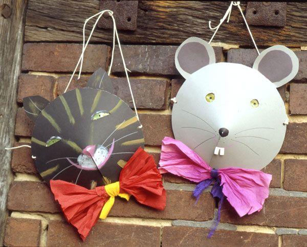Kostenlose Masken Basteln: Katze und Maus zum Basteln