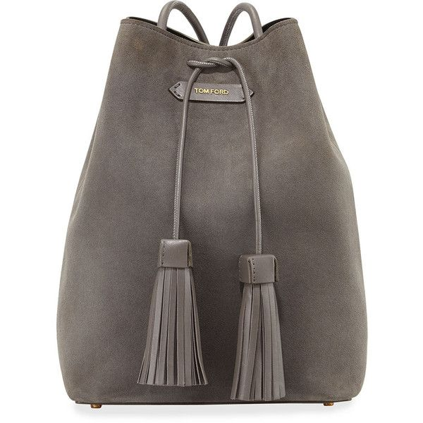 TOM FORD Suede Double-Tassel Medium Bucket Bag (£1,415) ❤ liked on Polyvore featuring bags, handbags, dark gray, drawstring handbags, tom ford purse, suede bag, bucket bag and tom ford bags