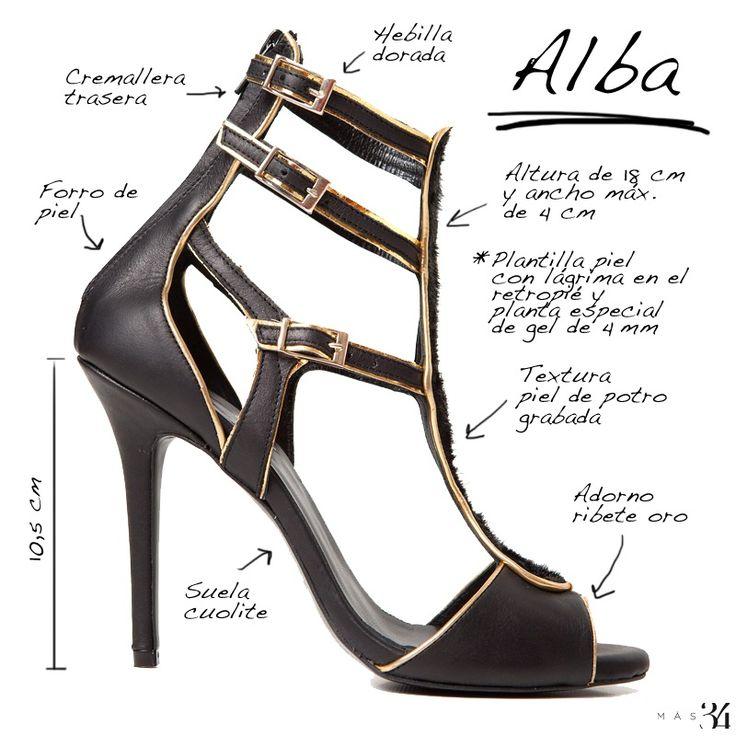 Infografía sandalia Alba piel de potro negra MAS34 http://www.mas34shop.com/tienda/alba-2/