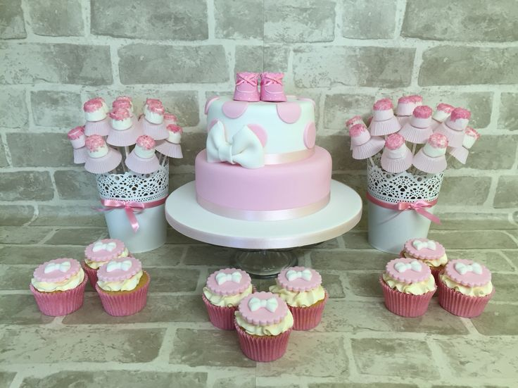 Baby shower for girls. Love this cake display