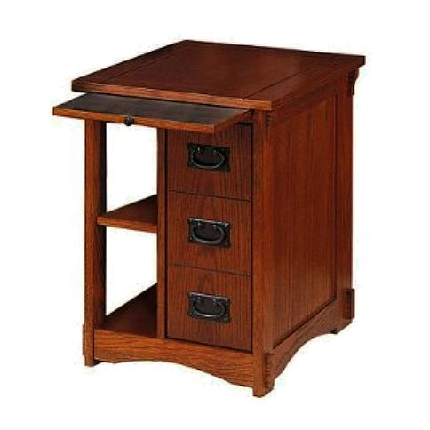 Pinning this because it is beautiful, doesn't need to be painted! - - - Craftsman style side table--like the pullout