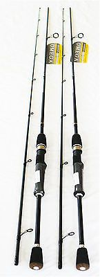 2 ZEBCO QUANTUM OMEGA SPINNING ROD WALLEYE BASS FISHING ROD INSHORE 6'6 2 PC MH