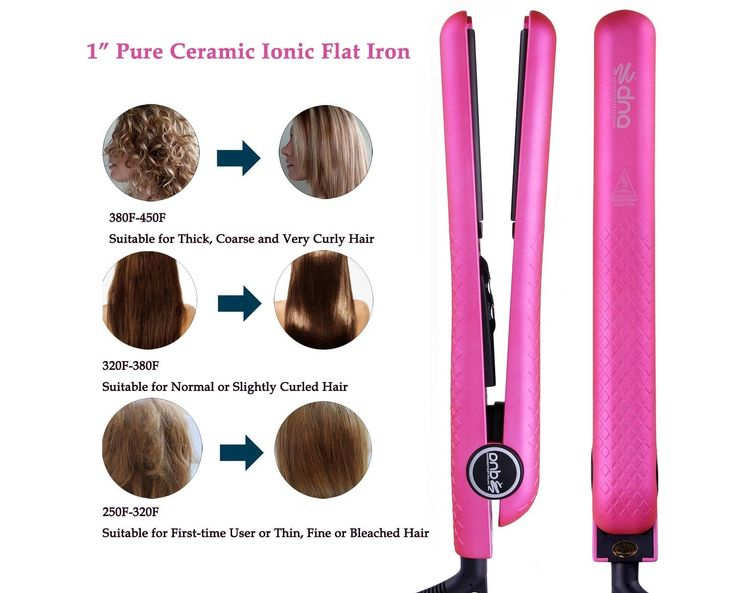 Salon Professional 1 Inch Anion Ceramic Metallic Hair Straightener LCD Hairstyling Flat Iron with Pouch, Dual Voltage, Hot Pink * More details can be found by clicking on the image. #hairmake