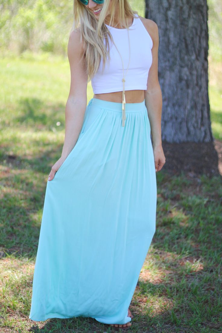 Mint maxi skirt and white top