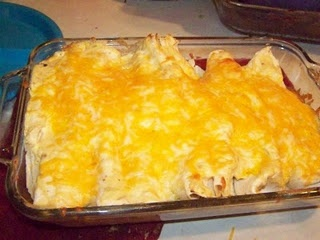 My Grandma's recipe for Enchiliadas with white sauce- SOO good! Can  be made with corn or flour tortillas