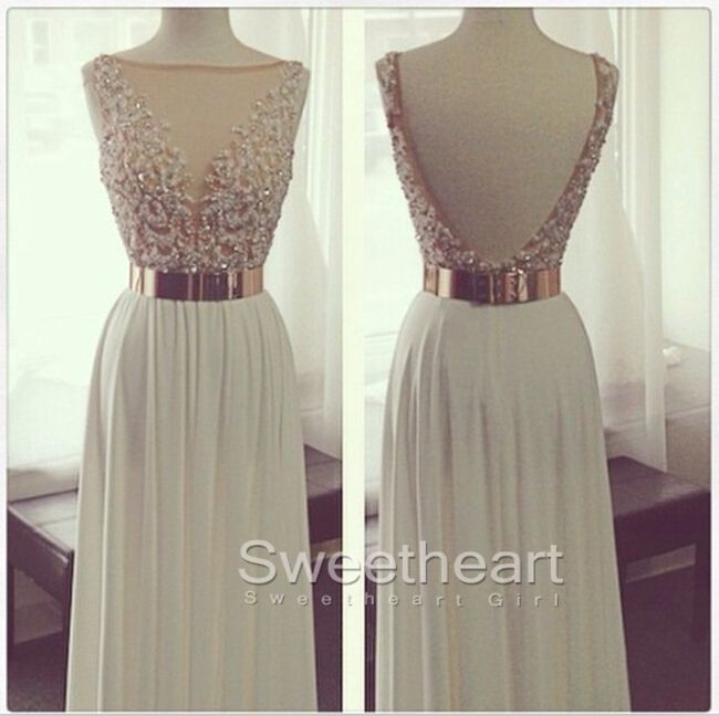 White sequin long prom dress 2016, modest prom dress, beautiful chiffon long evening dress for teens, unique white formal dress