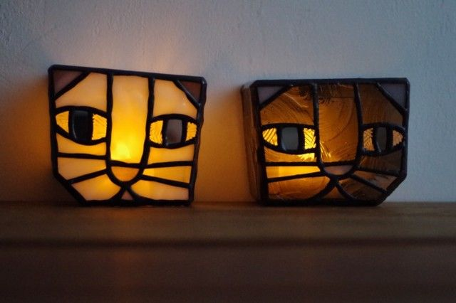stained glass lamp - Gray Cat