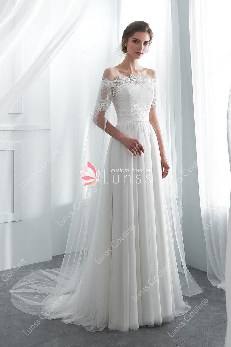 Ivory Simple Semi-sweetheart Spandex Net Long Wedding Dress with Detachable Lace Bolero