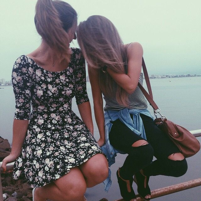 have a trip with your best friends:)floral skater dress // stripe t-shirt