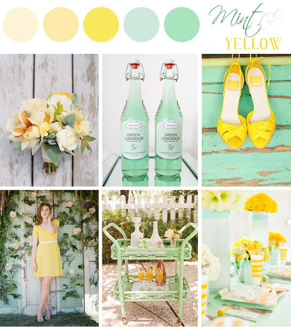 Mint + Yellow inspiration board designed by Sarah Park Events. Perfect color palette for a spring/summer wedding!