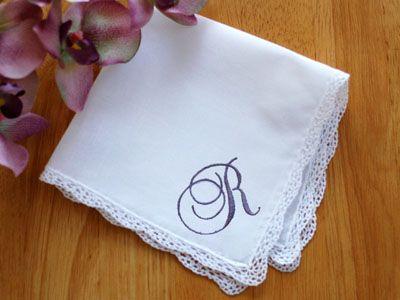 13th Anniversary Lace Monogrammed Wedding Hankie W Single Initial