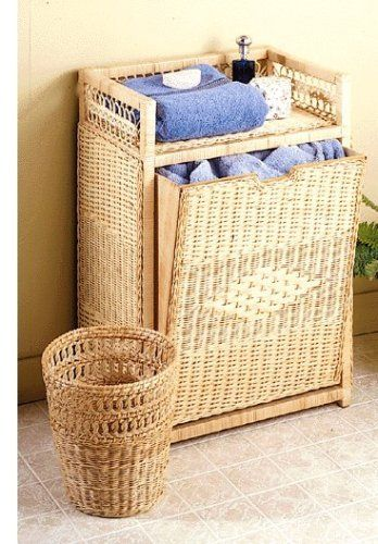 Fran's Wicker Furniture Front Load Laundry Hamper by Fran's Wicker and Rattan. $155.00. Three year guaanteed. one hand-woven wicker waste basket as a bonus. Front load hamper. Made of hand-woven wicker. Free Shipping. Give your bath a complete decorators touch with these matching accessories. All are handwoven of white or natural finished wicker. Our Front Load Hamper includes, as a bonus, one handwoven wicker waste basket. Other matching pieces are available. (with bonus w...