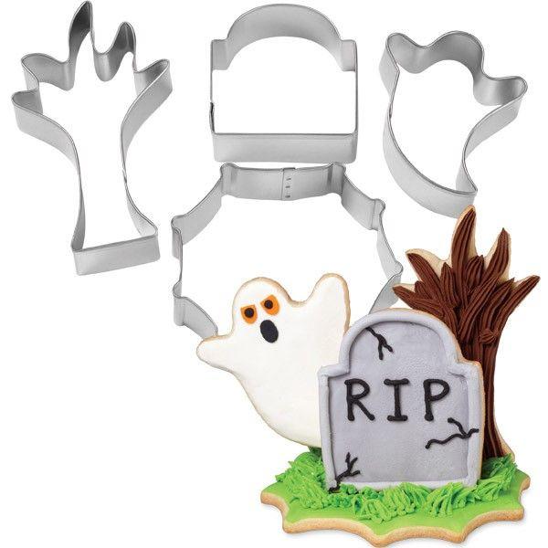 Set 4 Tagliapasta Halloween 3D in metallo - Dim. da 14 a 17 cm x 2,5 cm H WILTON