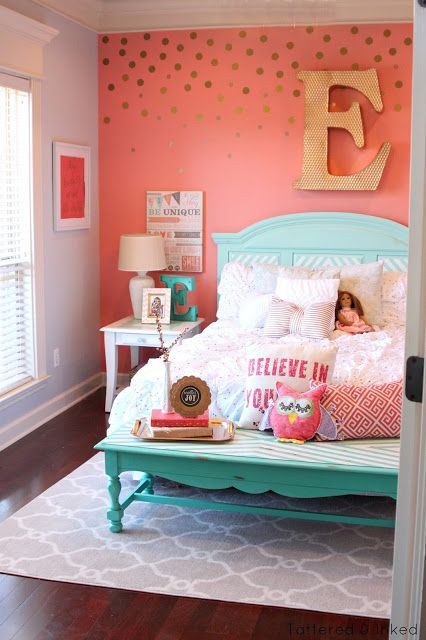 Bedroom Decor Coral tattered and inked coral aqua girls room makeover. super cute