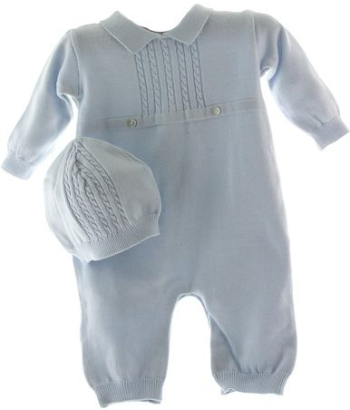 This baby boy coming home outfit features a blue knit long sleeve romper and hat – perfect for fall and winter babies! Shop our baby boy clothing boutique.