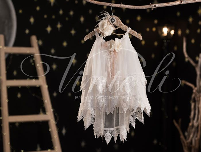 Βαπτιστικό φόρεμα Vinteli αμπίρ τούλινο με δαντέλα