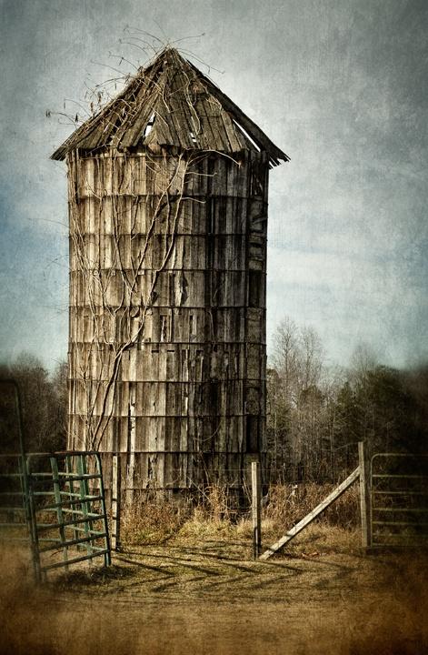 An old wooden silo stands sentinel near Julian, North Carolina