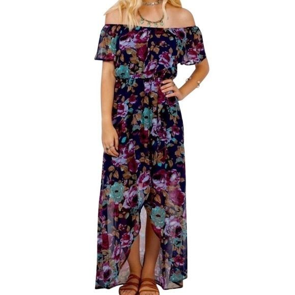 """SOUTHERN GIRL FASHION $68 """"Printed Maxi Dress Off the Shoulder Floral"""" - Small #Boutique #MaxiSundress #Casual"""