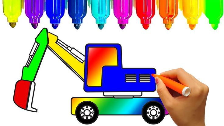 Excavator,  Construction vehicles coloring pages | Learn colors for kids...