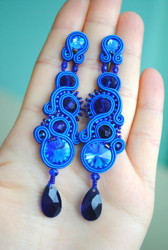 For oval face SOUTACHE LONG EARRINGS Choose Your by rodicasoutache