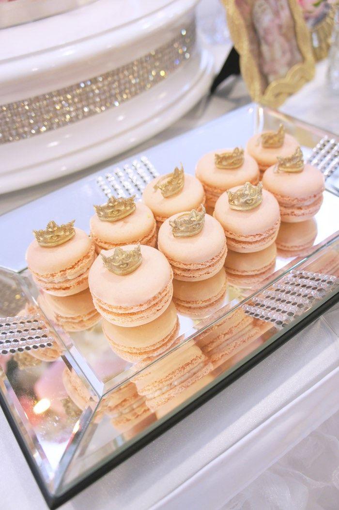 Macarons from a Pink & Gold Princess Party via Kara's Party Ideas | KarasPartyIdeas.com (18)