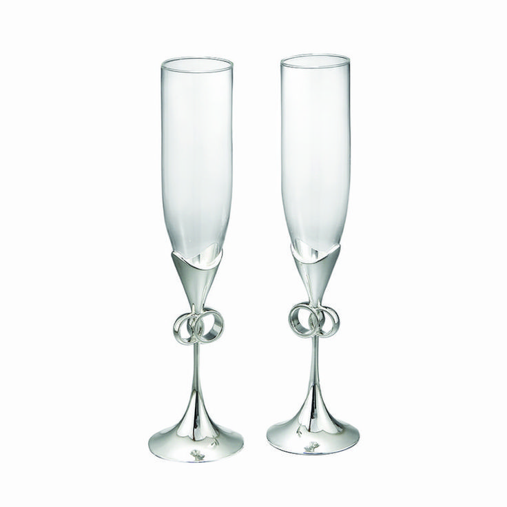 pThe inspired Forever Flute Pair by designer Steve Cozzolino features conjoined circles at the base of each glass, symbolizing the eternal nature of true love.
