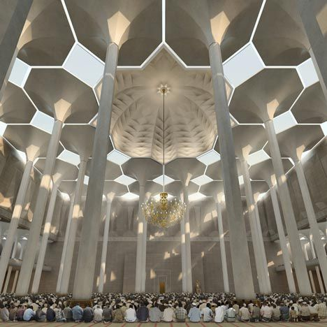 Beautiful design for a mosque in Algiers that won a competition by German firm, KSP Jürgen Engel Architekten.