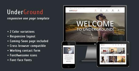 UnderGround – Responsive One Page Template – RIP Free Download