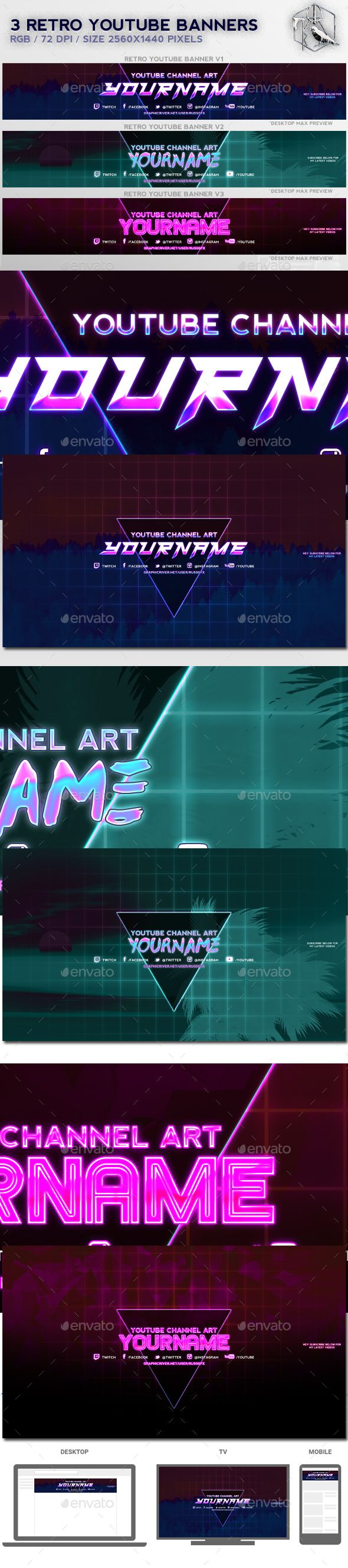 3 Retro Youtube Banners — Photoshop PSD #game #futuristic • Available here ➝ https://graphicriver.net/item/3-retro-youtube-banners/20971041?ref=pxcr