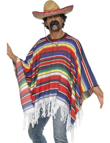 Mexican Fancy Dress!  1. Grab this striped poncho. 2. Add a Sombrero. 3. Grab your maracas!!!!