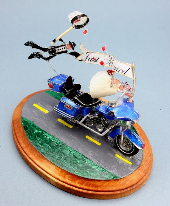 The Custom Motorcycle Wedding Cake Topper Ive Never Seen Something So Themed