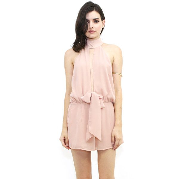West Coast Wardrobe West Coast Wardrobe Blushing Bella High Neck... (2,590 INR) ❤ liked on Polyvore featuring jumpsuits, rompers, beige, playsuit romper, pink romper, pink rompers and west coast wardrobe