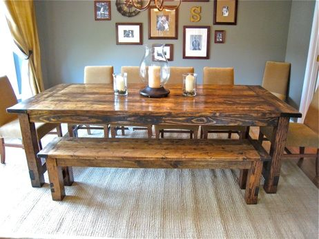 Love this dinning room table made from reclaimed floorboards (that look like they were taken from my house). Click for detailed DIY steps.