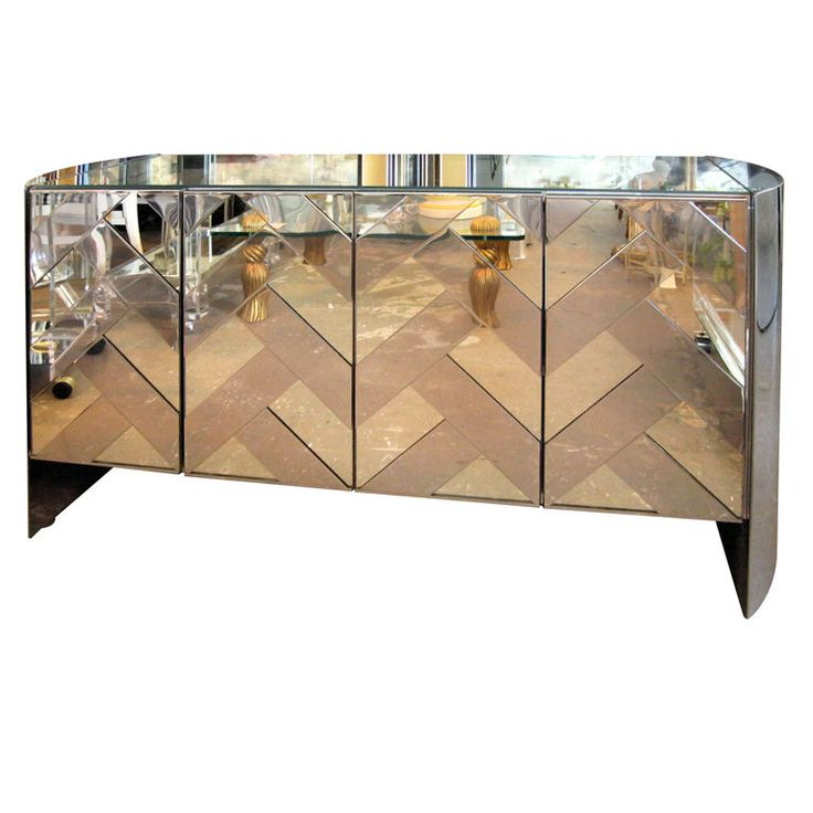 Chevron mirrored cordenza....my 2 most favorite things! Mirrored furniture and chevron!!!!!!!!!