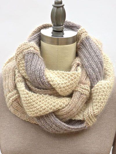 Infinity Scarf Knitting Pattern Garter Stitch : Challah Infinity Scarf Knit Pattern palillos Pinterest ...
