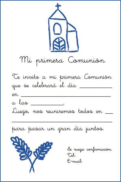Invitaciones Primera Comunión. Imprime tu invitación a una Primera Comunión en pdf. http://www.guiadelnino.com/en-familia/especial-primera-comunion/7-invitaciones-a-la-primera-comunion-para-imprimir