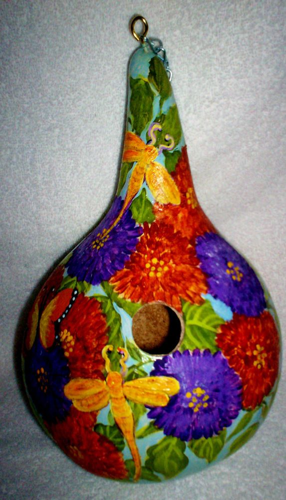 Zinnia Garden, Dragonfly, Butterfly Hand Painted Gourd birdhouse Garden Yard/Art