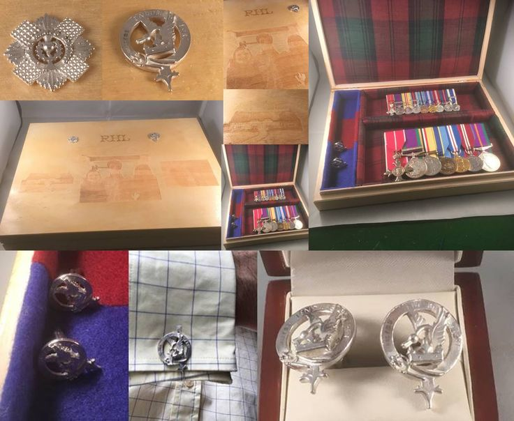 A hardwood box to keep your medals in, lined in family tartan and regimental colours, with family photographs etched on the lid, and individually cast solid silver family and regimental motifs  With etching as you see here (and we can etch virtually anything), and the individually cast badges (in this case clan Lindsay and the Scots Guards), the cases are £400 plus p&p and take 6 weeks to deliver.  Bespoke sterling silver cufflinks/brooches/charms etc range from £80 - £140 each.