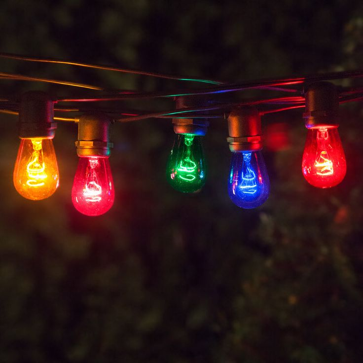 54u0027 Commercial Patio String With 24 S14 Multicolor Party Lights