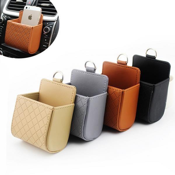 Auto Air Vent Car Storage Bag Multi-functional Pu Phone Bag Ditty Bag
