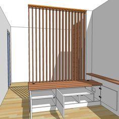 Fabrication sur mesure d'un meuble bas et claustra mobile