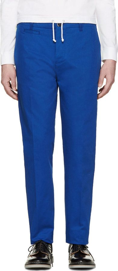 $435, Blue Chinos: Oamc Blue Chino Trousers. Sold by SSENSE. Click for more info: https://lookastic.com/men/shop_items/203689/redirect