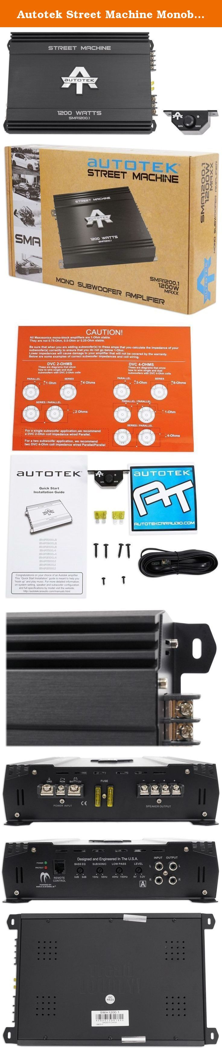 Autotek Street Machine Monoblock Class AB Amp (1,200 Watts) SMA1200.1. Includes remote. Signal to noise ratio > 95 dB. Total harmonic distortion < 0.5 %. Variable input voltage. Low to noise preamp. Low to level RCA inputs and outputs. Mono mode is intended for subwoofers only. Built to in variable electronic crossover (HP and LP). Onboard bass boost. Easily ties into OEM audio systems. 1,200 watt max. 600 watt RMS x 1 @ 4ohm. 1,200 watt RMS x 1 @ 2ohm. Warranty: One year. 13.6 in. W x…