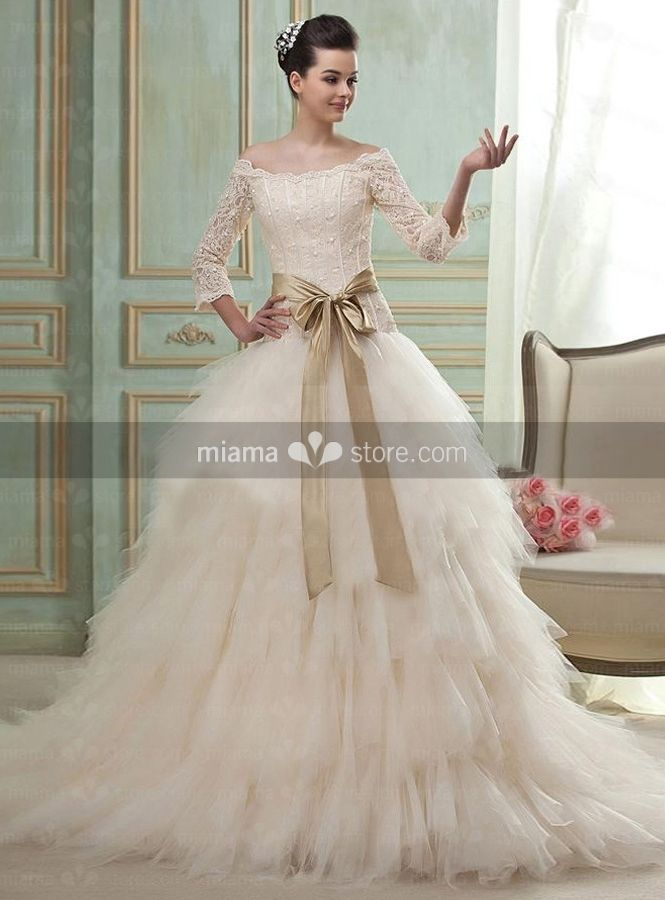 JUDY - A-line Off the shoulder Chapel train Tulle Wedding dress