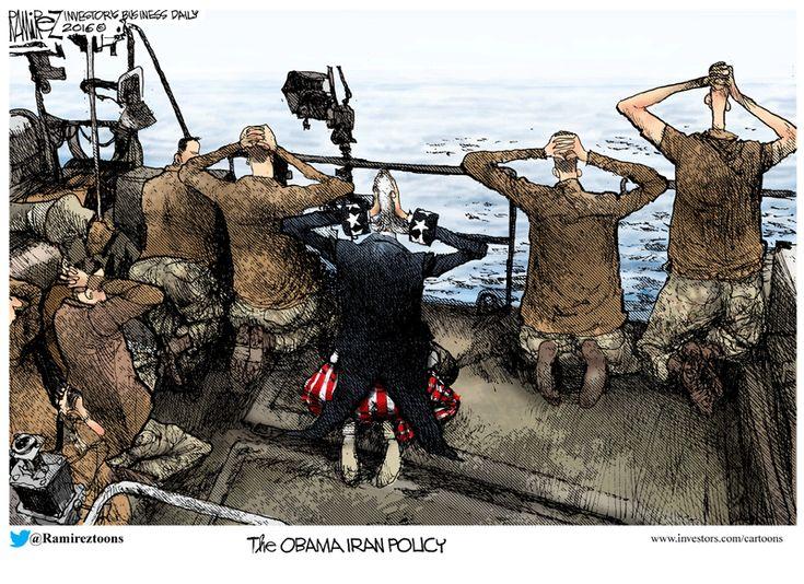 SURRENDERING TO IRAN   Michael Ramirez Cartoon 01/15/2016 - Naval soldiers and Uncle Sam surrendering